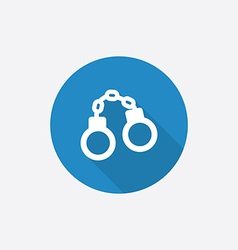 Handcuffs flat blue simple icon with long shadow vector