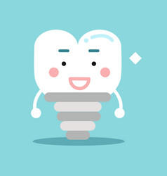 happy healthy cartoon tooth implant character vector image vector image