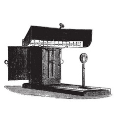 Lamp box is to demonstrate a galvanometer vintage vector