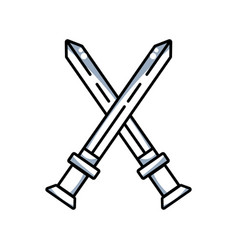 Line videogame swords and medieval weapon vector