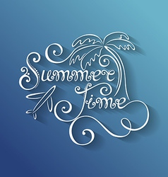 Name of season of the year summer time inscription vector