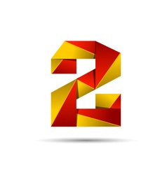 Number two 2 icon design template elements 3d logo vector image vector image