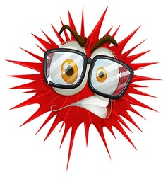 Red thorny ball with face vector image vector image
