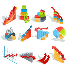 Set of isometric infographic graphics vector