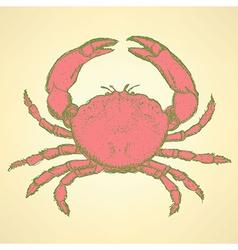 Sketch cute crab in vintage style vector image