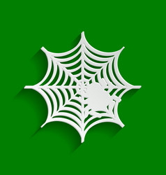 Spider on web paper whitish vector