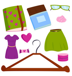 Summer girl clothing and accessories vector