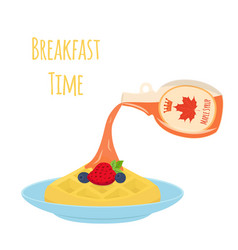 Sweet waffle with berries and syrup for breakfast vector