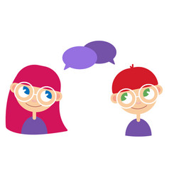 two cartoon style kids comics speak bubbles with vector image