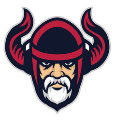 viking warrior head mascot vector image vector image