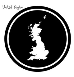 White map of united kingdom on black vector