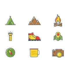 Summer and winter mountain explorer camp icons in vector