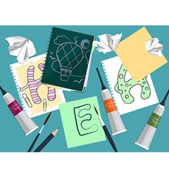 Set with notebook drawings and art supplies on the vector