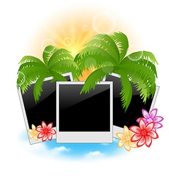 Set photo frame with palms flowers seascape vector