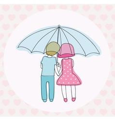 couple under an umbrella vector image