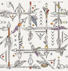 Seamless patterns with indian arrows hand drawn vector