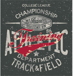 College track and field athletic training vector