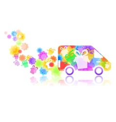 Symbol of a truck with a gift box vector
