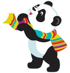 cartoon panda bear wearing scarf vector image