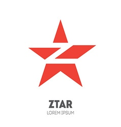 Star - logo template sliced star with letter z vector