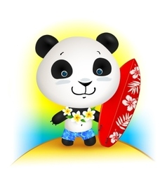 Little cute surfer panda vector