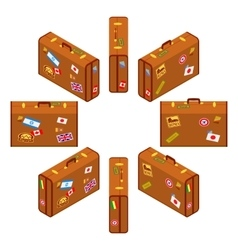 Set of standing brown travelers suitcases vector