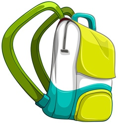 Schoolbag in yellow and green color vector