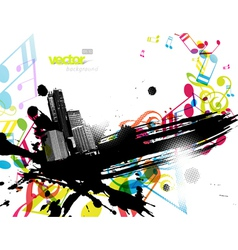 City with colored tunes vector