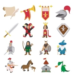 Medieval cartoon icons set vector