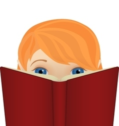 Cute little ginger girl reading a big book vector