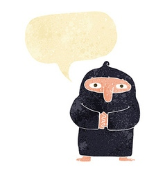 Cartoon monk in robe with speech bubble vector