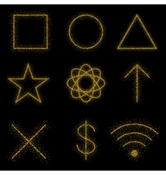 Gold symbols on black background vector