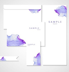 Watercolor card with purple flower petal vector