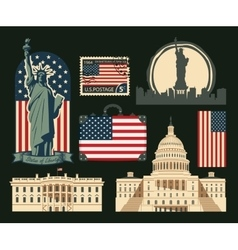 Set of symbols of the united states of america vector