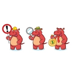 Red hippo mascot with money vector
