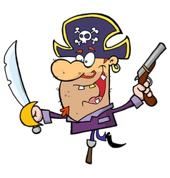 Pirate brandishing sword and gun vector