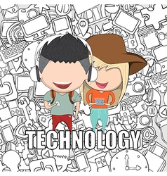 Teenage girl and boy wearing hat vector