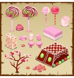 Big pink set of candies and different sweets vector