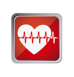 Button with heart vital sign with background red vector