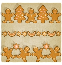 Christmas gingerbread cookies background vector image