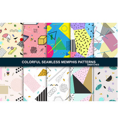 collection of abstract seamless patterns retro vector image
