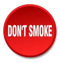 Dont smoke red round flat isolated push button vector