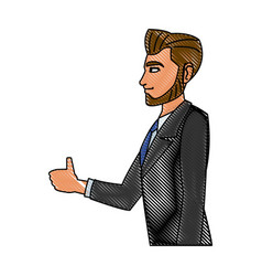 Drawing character business man with suit profile vector