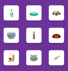 flat icon animal set of temperature measurement vector image vector image