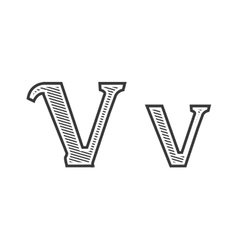 Font tattoo engraving letter v with shading vector