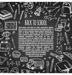 Frame back to school on chalk board vector image