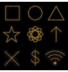 Gold symbols on black background vector