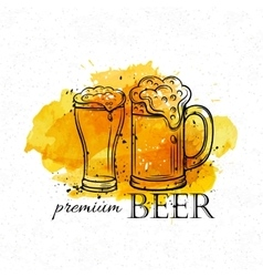 hand drawn beer mugs vector image vector image