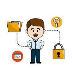 Man folder file with padlock security data vector
