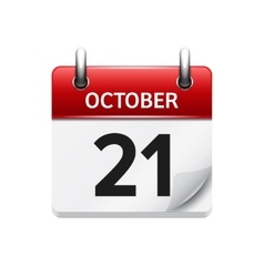 October 21 flat daily calendar icon date vector